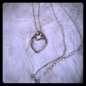 18kgp mother and child necklace